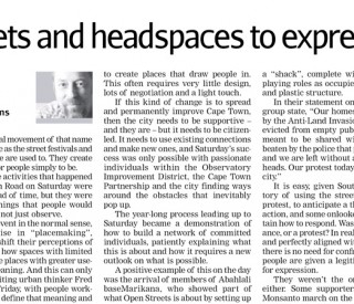 Opening up streets and head spaces to express ourselves. Cape Times Man About Town 27 May, 2013