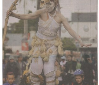 Stiltwalkers at Open Streets. Weekend Argus Front Page 26 May, 2013